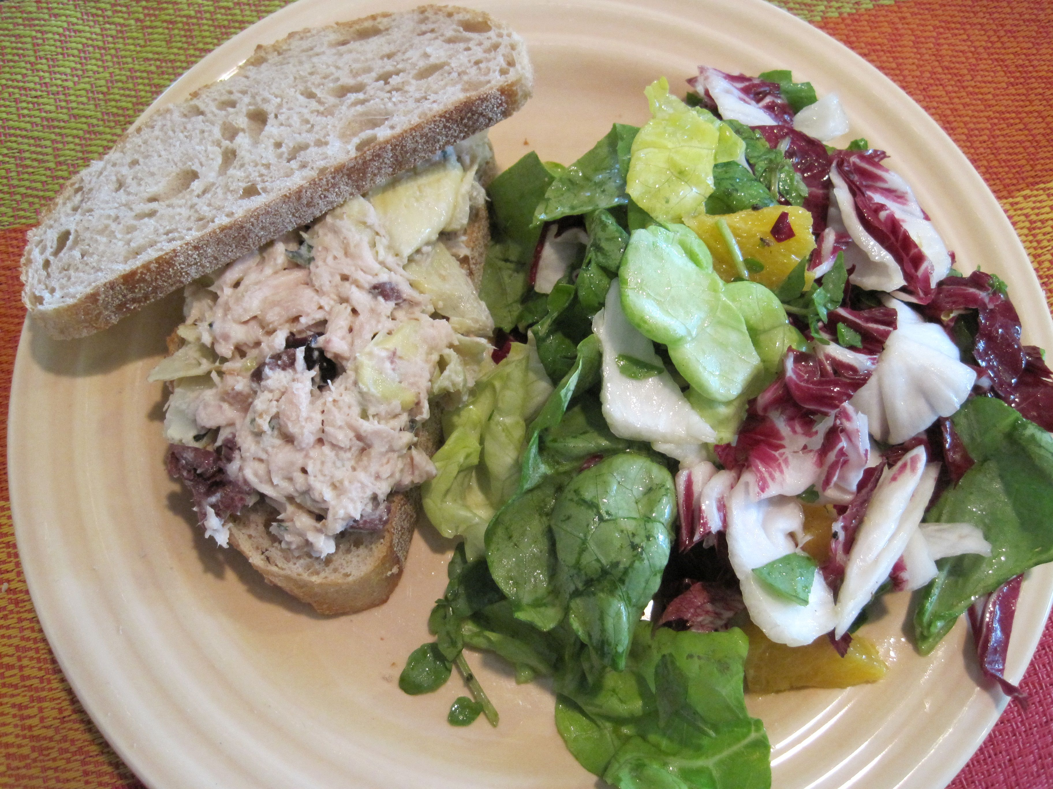 Tuna and Artichoke Salad Sandwiches; Radicchio, Lettuce, and Orange ...